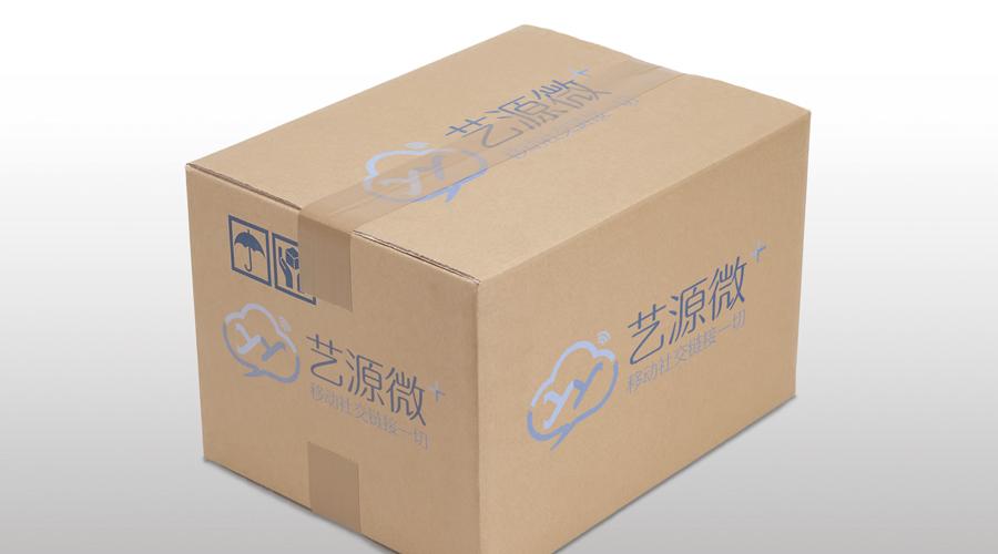 艺源微logo_西安网络公司logo包装上应用